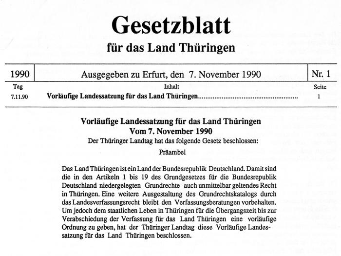 Gesetzblatt für das Land Thüringen vom 7. November 1990, Titelblatt