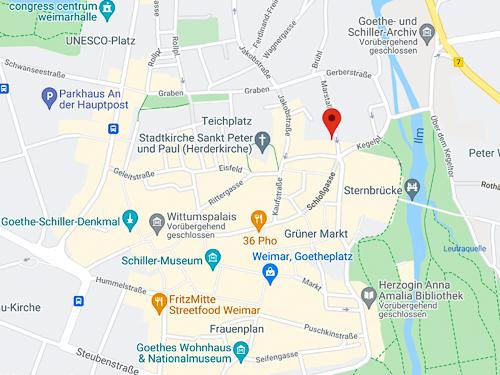 Ausschnitt aus Google Maps von Weimar mit Markierung des Landesarchivs Thüringen