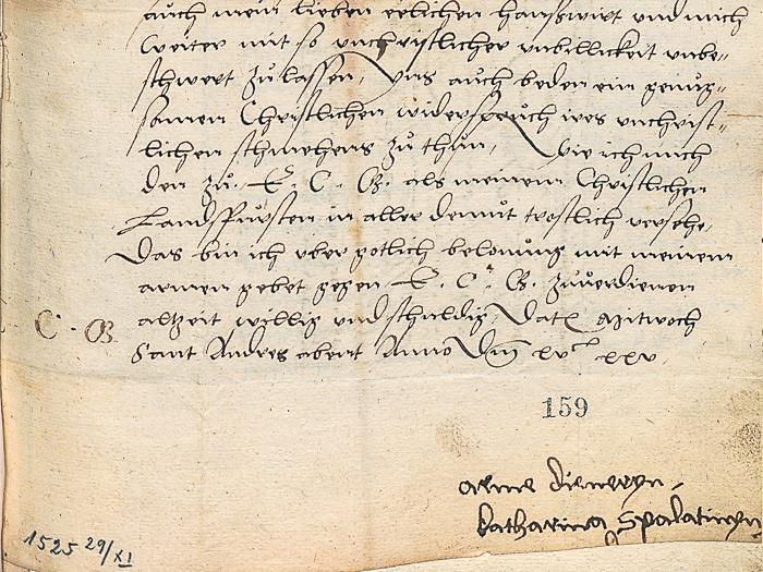 Handgeschriebener Brief mit Unterschrift Katharina Spalatins