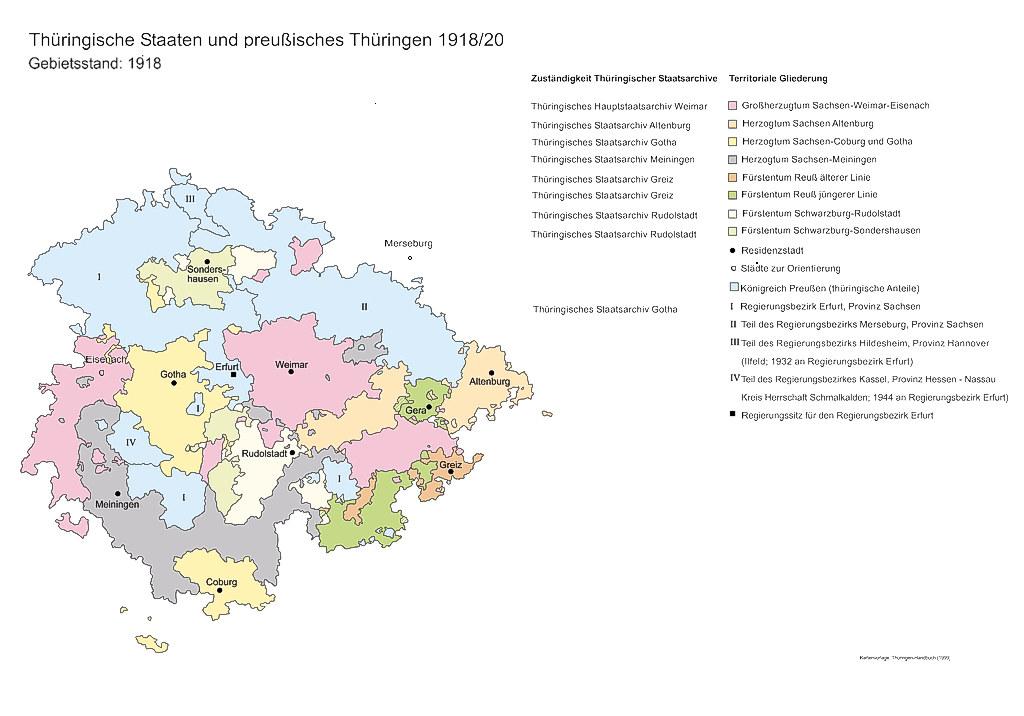 Karte der Zuständigkeiten des Landesarchivs für Thüringische Staaten und preußisches Thüringen bis 1918/20Bis 1920