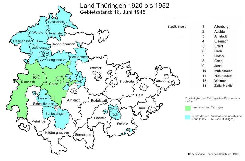 Karte der Zuständigkeit Staatsarchiv Gotha 1920-1952