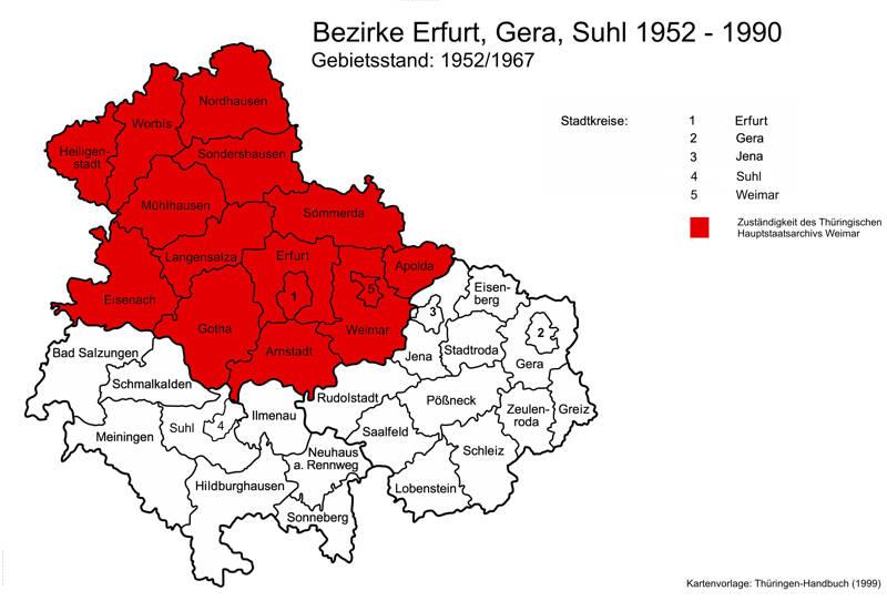 Karte mit Gebieten im Zuständigkeitsbereich des Hauptstaatsarchivs Weimar 1952-1990