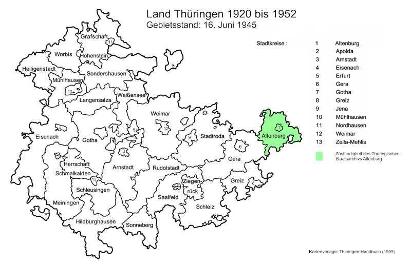Karte der Zuständigkeit des Staatsarchivs Altenburg bis 1920