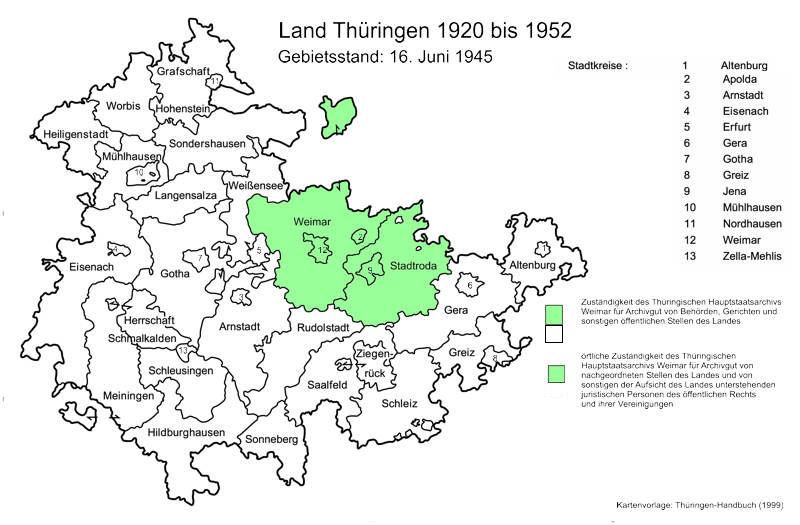 Karte mit Gebieten im Zuständigkeitsbereich des Hauptstaatsarchivs Weimar ab 1920