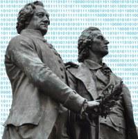 Goethe- und Schillerdenkmal in Weimar vor digitalem Hintergrund