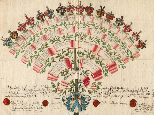 Fächerförmiger Staummbaum in bunten Farben