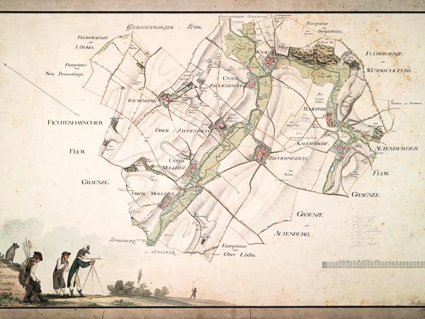 Historische Landkarte über die Kirchspiele Rasephas und Zschernitzsch im Ostkreis des Herzogstums