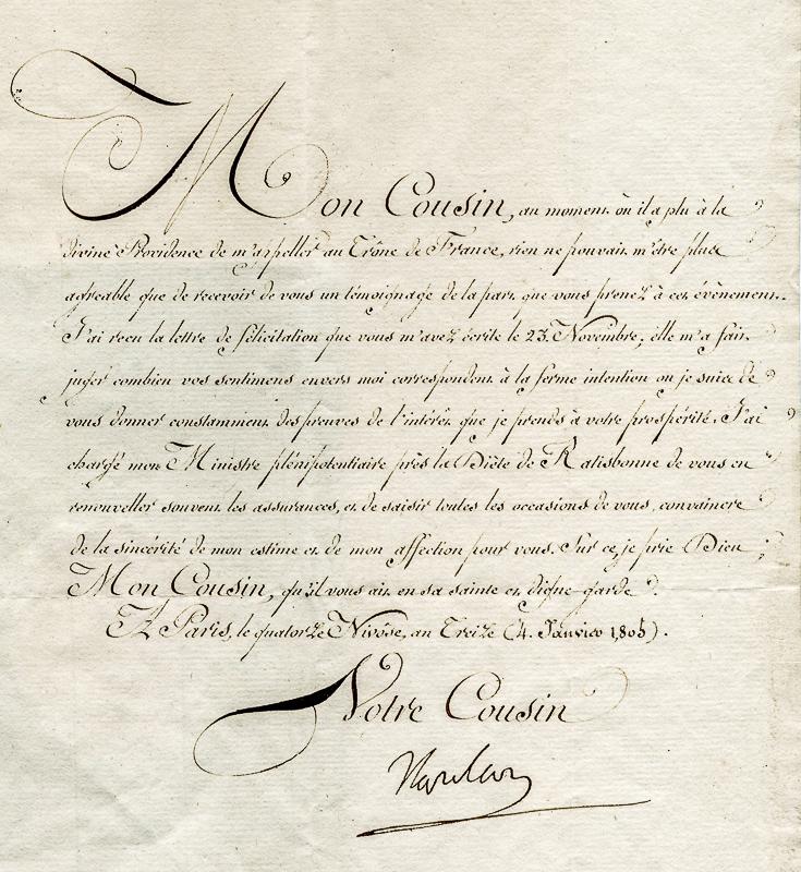 Ausschnitt aus dem Brief Napoleons mit seiner Unterschrift