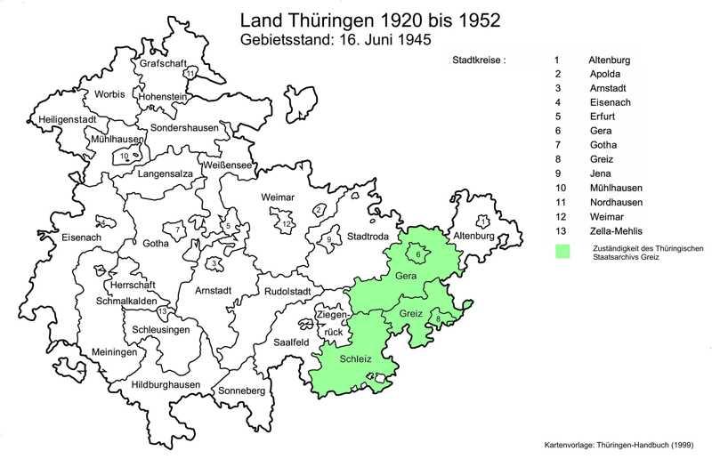 Diese Karte zeigt die Zuständigkeit des Staatsarchivs Greiz in der Zeit von 1920 bis 1952