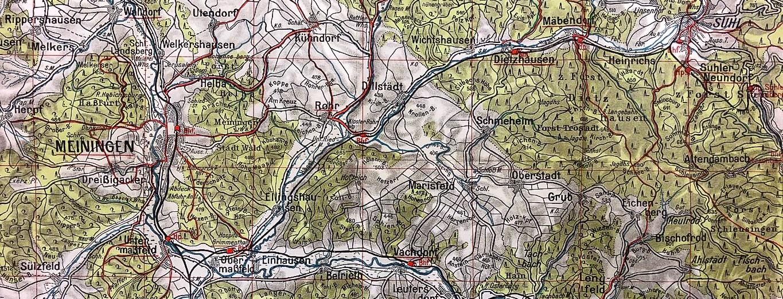 Alte Wanderkarte des Thüringer Waldes, Bildausschnitt von Meiningen und Umgebung