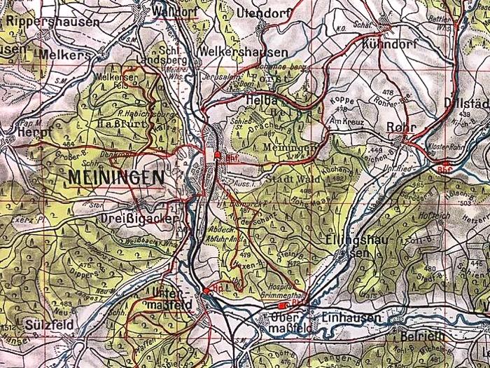 Historische Wanderkarte des Thüringer Waldes, Bildauschnitt Meiningen und Umgebung