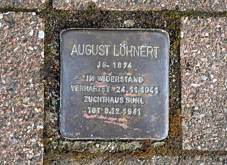 Stolperstein für August Löhnert, der 1941 im Zuchthaus Suhl ums Leben kam