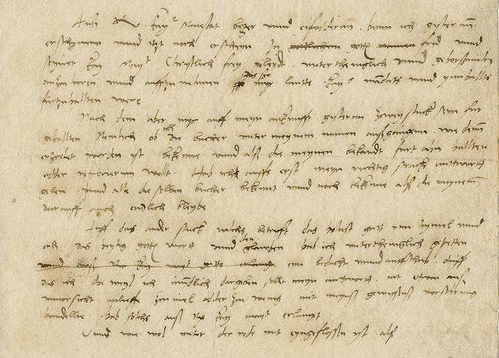 Pergamentblatt mit handschriftlicher Aufzeichnung Martin Luthers