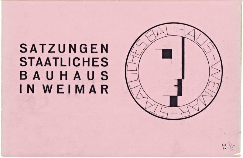 Deckblatt der Satzung des Bauhauses, gedruckt auf rosafarbenem Papier