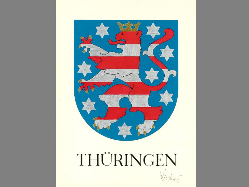 Urzeichnung des Thüringer Wappens 1991