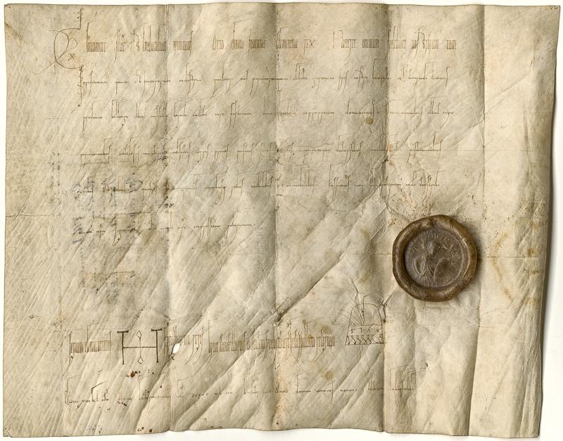 Mittelalterliche Pergamenturkunde mit handgeschriebenem Text und braunem Wachssiegel