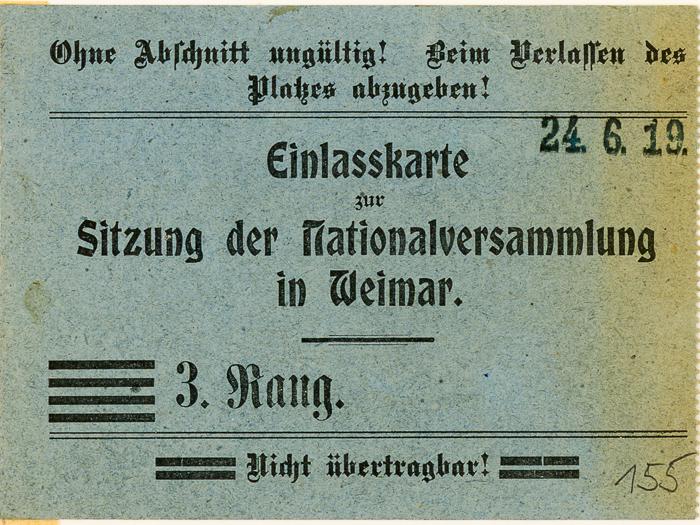 Einlasskarte zur 42. Sitzung der Nationalversammlung in Weimar