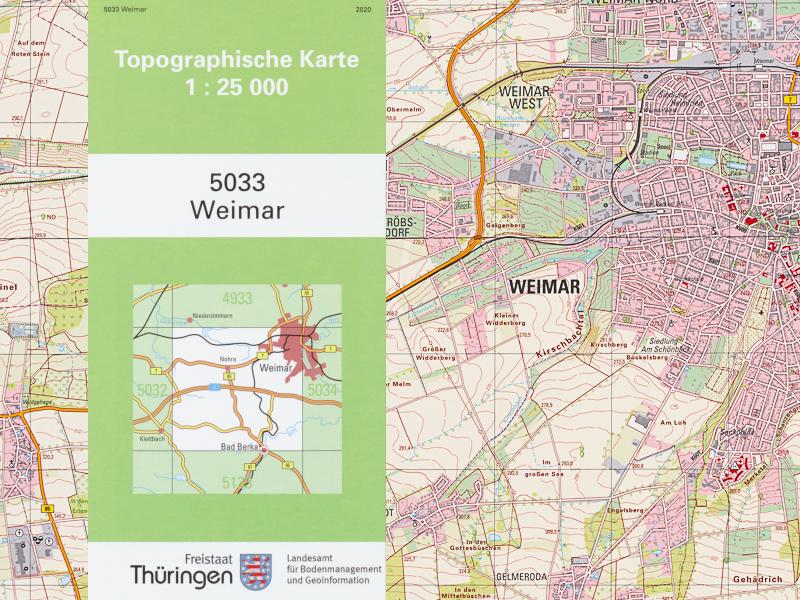 Topografische Karte von Weimar und Umland