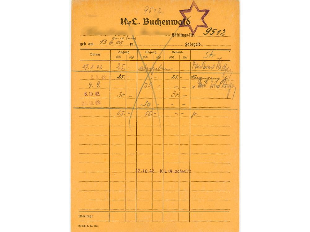 Geldkarte, gelb, aus dem Kozentrationslager Buchenwald