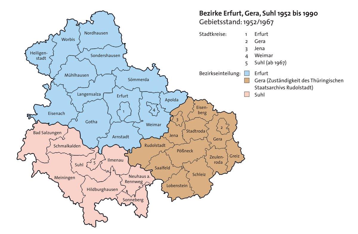 Farbige Darstellung der ehemaligen DDR-Bezirke Erfurt, Gera und Suhl