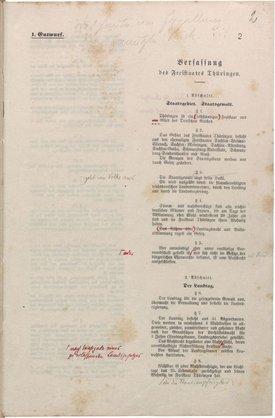 Deckblatt des ersten Entwurfes einer Verfassung für Thüringen von Dr. Eduard Rosenthal