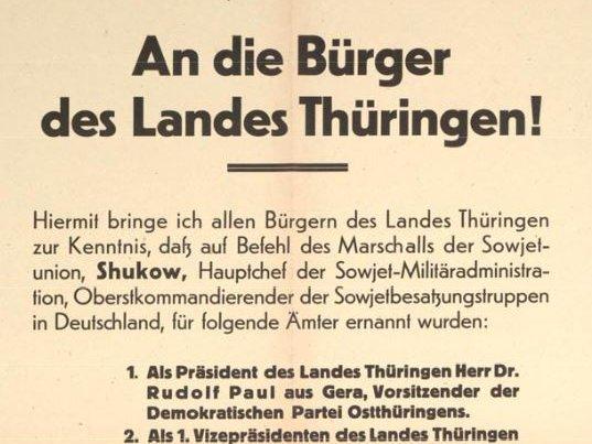 Flugblatt der Sowjetischen Militäradministration für Thüringen