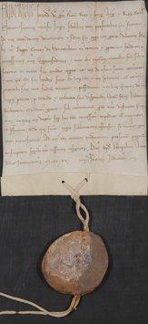 Eine alte Urkunde in lateinischer Schrift mit Siegel daran.