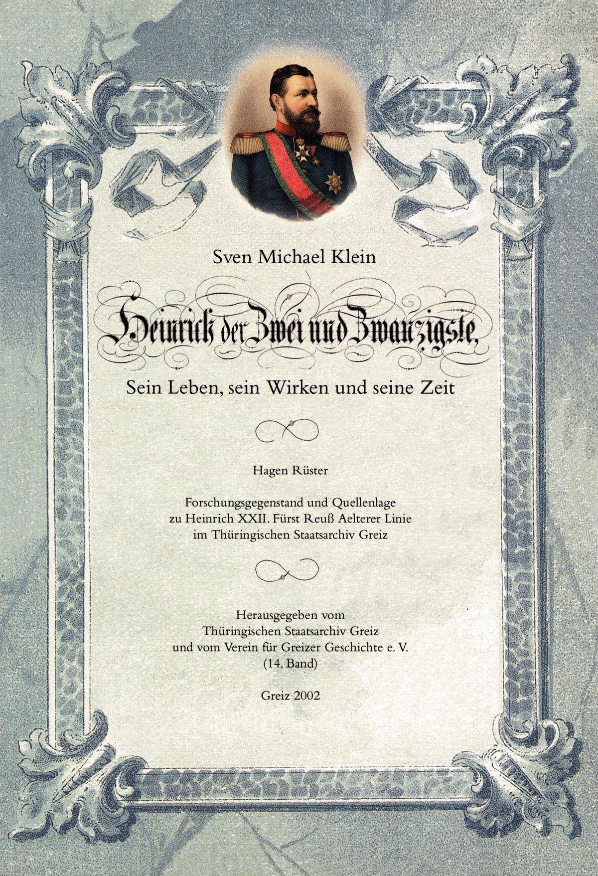 """Das Bild zeigt das Cover der Broschüre """"Fürst Heinrich XXII. Reuß älterer Linie"""""""
