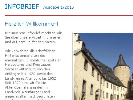 Titelblatt des ersten Infobriefes mit Foto des Staatsarchivs Altenburg