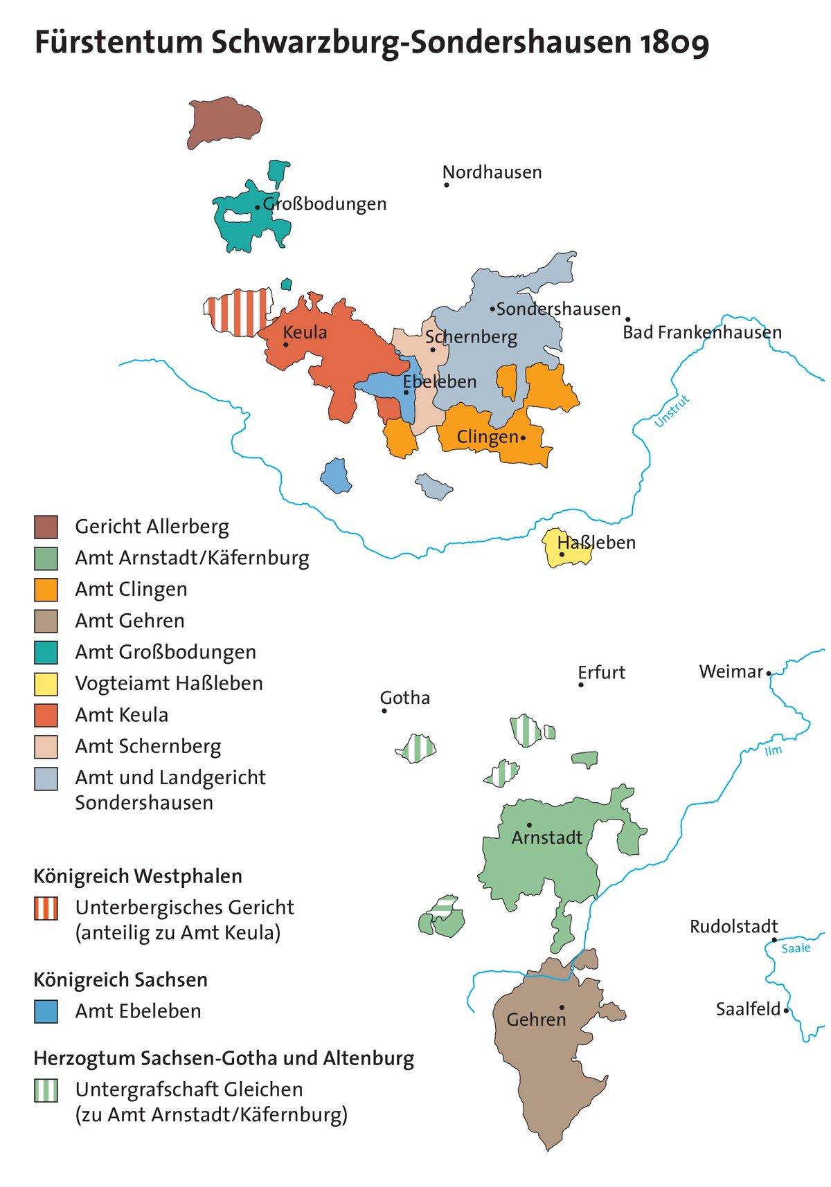 Farbige Darstellung aller zum Fürstentum Schwarzburg-Sondershausen im Jahr 1809 gehörigen Ämter.