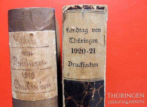 """Buchrücken mit der Aufschrift """"Landtag von Thüringen 1920-21"""""""