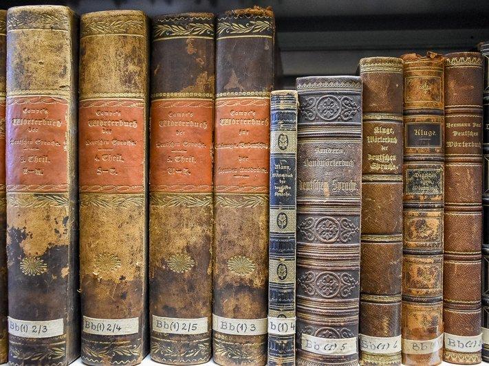 Buchrücken alter Nachschlagewerke