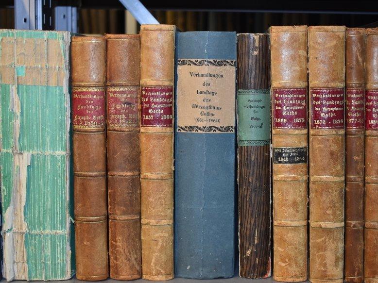 Ansicht von verschiedenfarbigen Buchrücken in einem Regal