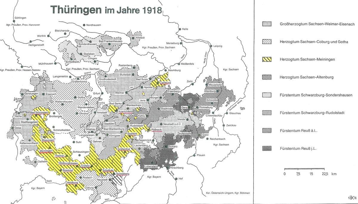 Diese Karte zeigt Thüringen im Jahr 1918
