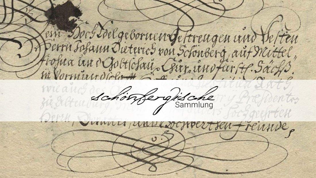 """Von Hand beschriebenes Pergament im Hintergrund, darüber horizontal verlaufen das Schriftlogo """"Schönbergische Sammlung"""""""