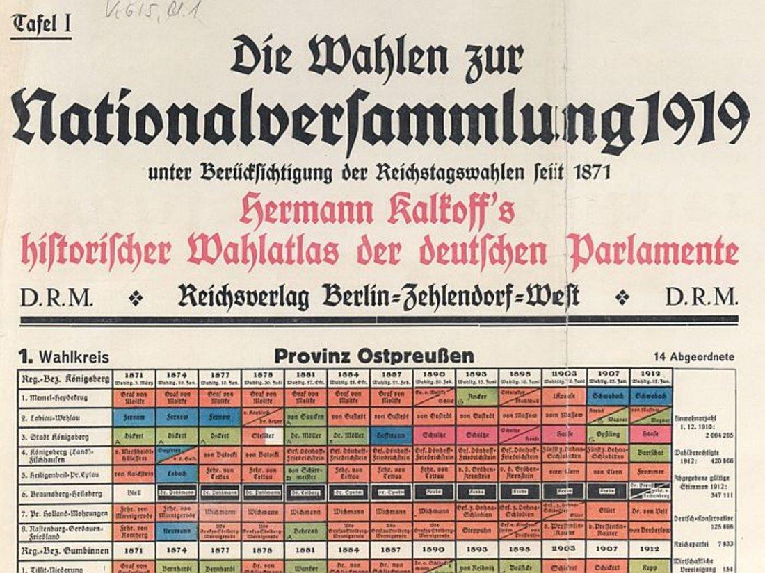 Ausschnitt einer farbigen, tabellarischen Darstellung der Wahlergebnisse der Wahl zur Nationalversammlung von 1919 nach Wahlkreisen geordnet