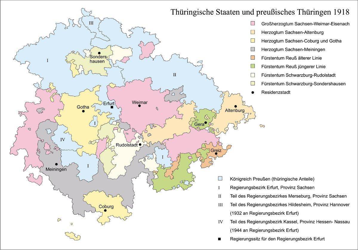 Bunte Darstellung aller Thüringer Kleinstaaten und der preußischen Gebiete bis 1918/20.