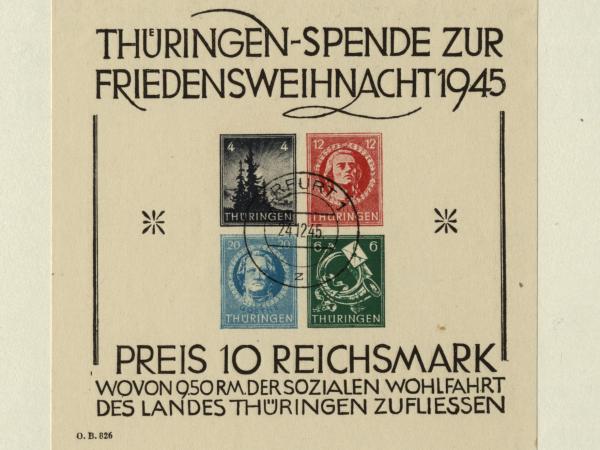 Sondermarken der Thüringer Post zu Weihnachten 1945