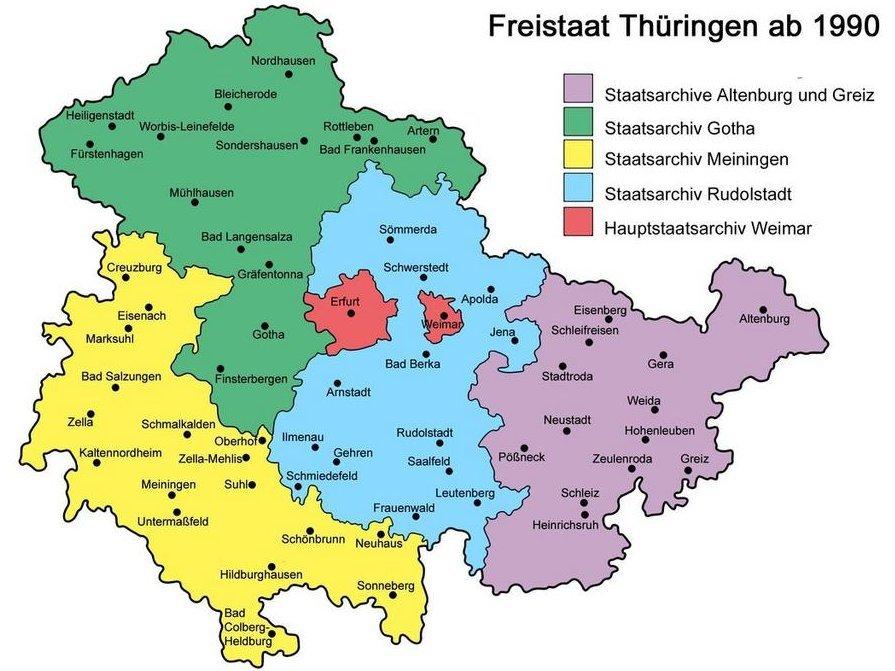 Umrisskarte des Freistaats Thüringens mit farbig gekennzeichneten Zuständigkeitsbereichen der Staatsarchive