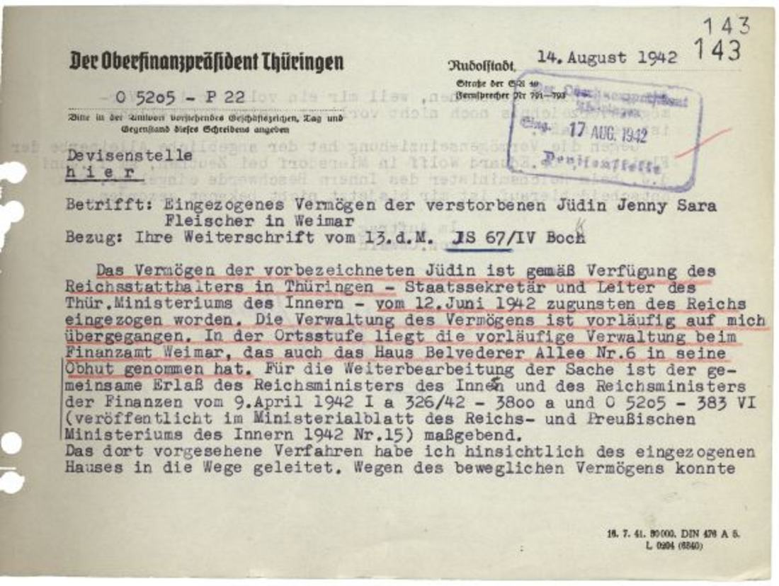 Anordnung des Oberfinanzpräsidenten Thüringen vom 14. August 1942, das Vermögen der Kammersängerin Jenny Fleischer-Alt nach deren Selbstmord angesichts der bevorstehenden Deportation in ein Konzentrationslager zugunsten des Reichs einzuziehen.